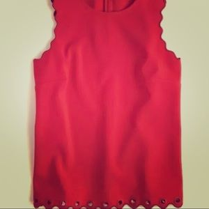 J Crew Red Scalloped Grommet Tank Top Size 6